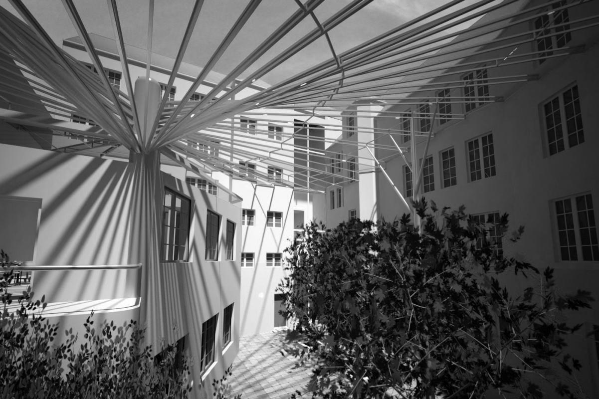 Visualization from the inside in black and white