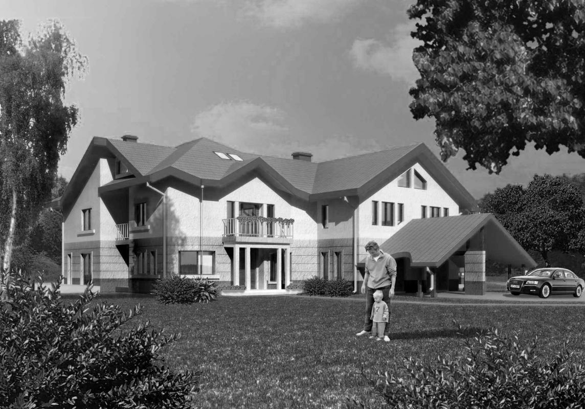 Dom jednorodzinny w czerni i bieli